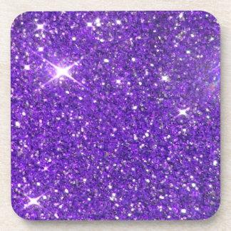Glitz chispeante del brillo de la púrpura de moda posavasos de bebida
