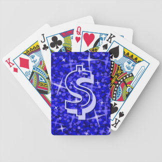 "Glitz Dark Blue dollar ""$"" playing cards"