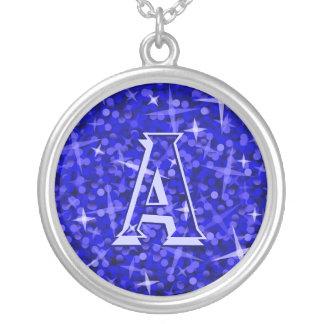Glitz Dark Blue 'monogram' necklace