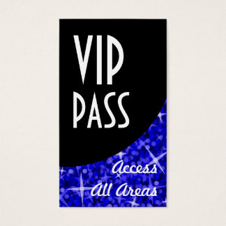 Glitz Dark Blue 'VIP Pass' Black Curve Business Card