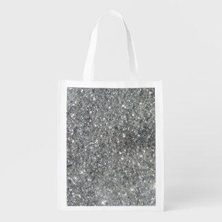 Glitz de plata elegante del brillo bolsa de la compra
