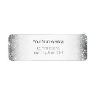 Glitz de plata elegante del brillo etiqueta de remitente