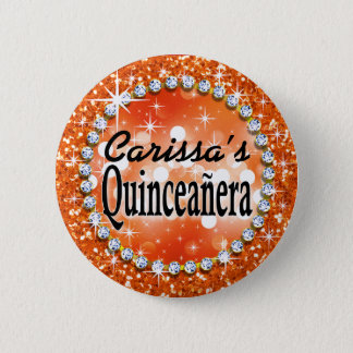 Glitz Glam Bling Quinceañera Celebration orange Button