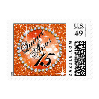 Glitz Glam Bling Quinceañera Celebration orange Postage