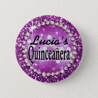 Glitz Glam Bling Quinceañera Celebration purple Pinback Button