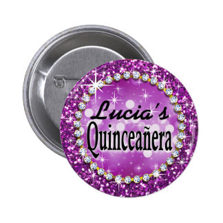 Glitz Glam Bling Quinceañera Celebration purple Pinback Button