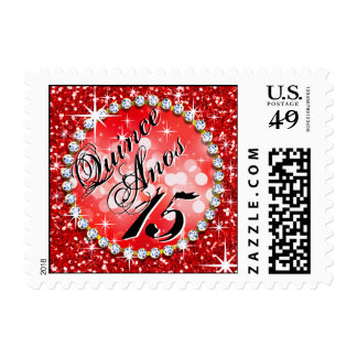 Glitz Glam Bling Quinceañera Celebration red Postage