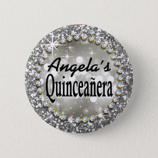 Glitz Glam Bling Quinceañera Celebration silver Pinback Button