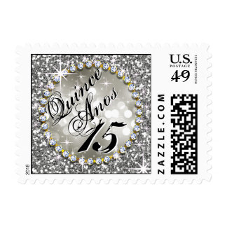 Glitz Glam Bling Quinceañera Celebration silver Postage