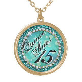 Glitz Glam Bling Quinceañera Celebration teal Gold Plated Necklace