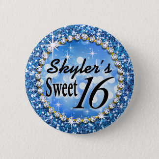 Glitz Glam Bling Sweet 16 Celebration blue Pinback Button