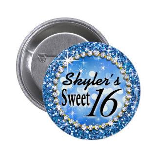 Glitz Glam Bling Sweet 16 Celebration blue Pinback Button