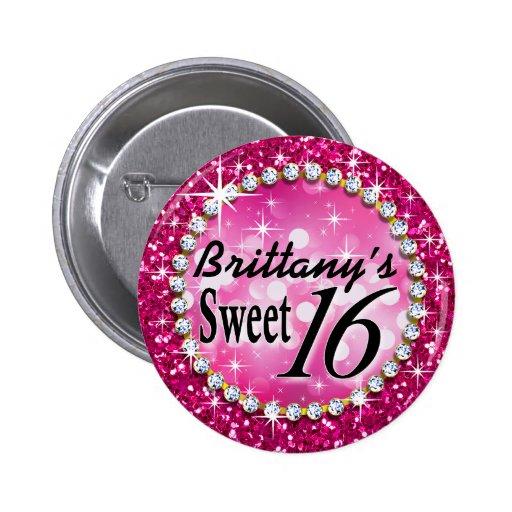 Glitz Glam Bling Sweet 16 Celebration fuschia Button
