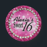 """Glitz Glam Bling Sweet 16 Celebration fuschia Paper Plate<br><div class=""""desc"""">If you&#39;re a glamour girl who likes bling, you&#39;ll love these fuchsia faux glitter &quot;Glitz* Glam Bling&quot; Celebration&quot; fuschia Paper Plates for your fabulous Quinceanera, Sweet 16 or any milestone Birthday party! Use the CUSTOMIZE IT button to add your text. Matching party invites, tshirts, party plates, stickers and magnet favors...</div>"""