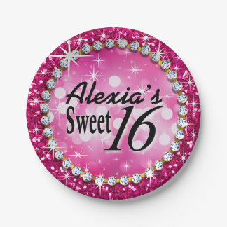 Glitz Glam Bling Sweet 16 Celebration fuschia Paper Plate