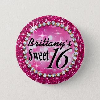 Glitz Glam Bling Sweet 16 Celebration fuschia Pinback Button