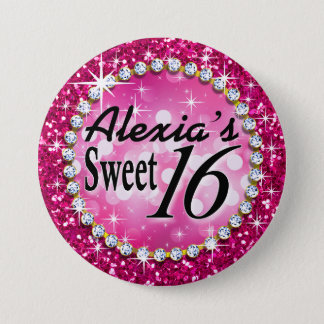 Glitz Glam Bling Sweet 16 Celebration fuschia Pinback Button
