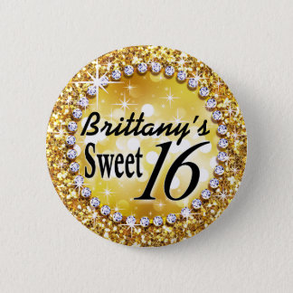 Glitz Glam Bling Sweet 16 Celebration gold brite Button