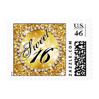 Glitz Glam Bling Sweet 16 Celebration gold Postage Stamp
