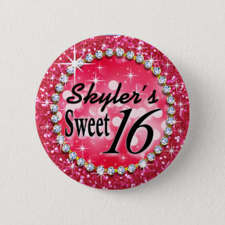 Glitz Glam Bling Sweet 16 Celebration hot pink Button