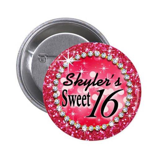 Glitz Glam Bling Sweet 16 Celebration hot pink Pins