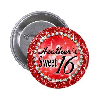 Glitz Glam Bling Sweet 16 Celebration red Pinback Button