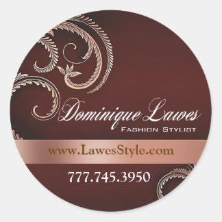 """Glitz Glam"" - Classy Chic Elegant Fashion Stylist Classic Round Sticker"