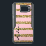 "Glitz Gold and Pink Otterbox Samsung Note 5 Case<br><div class=""desc"">Glamorous Otterbox brand Samsung Galaxy Note 5 case done in a glittery gold tone and pink stripe pattern.  Personalize the black text,  running up the left side of the case,  for yourself or as a chic gift idea for her.</div>"
