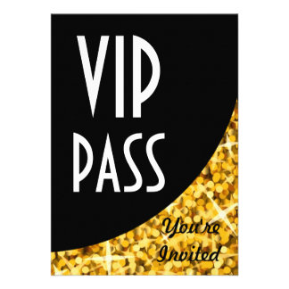 Glitz Gold black curve VIP Pass invitation
