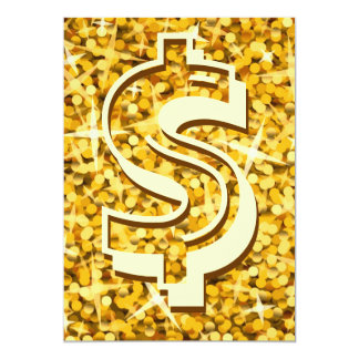 """Glitz """"Gold"""" dollar '$' invitation"""