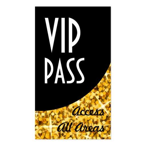 Glitz Gold VIP Pass Black Curve Business Card Zazzle