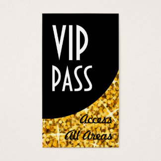 "Glitz ""Gold"" 'VIP Pass' Black Curve business card"