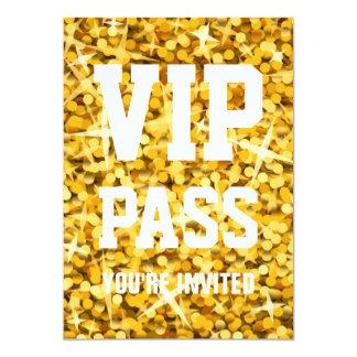"Glitz ""Gold"" 'VIP PASS' invitation 5"" X 7"" Invitation Card"