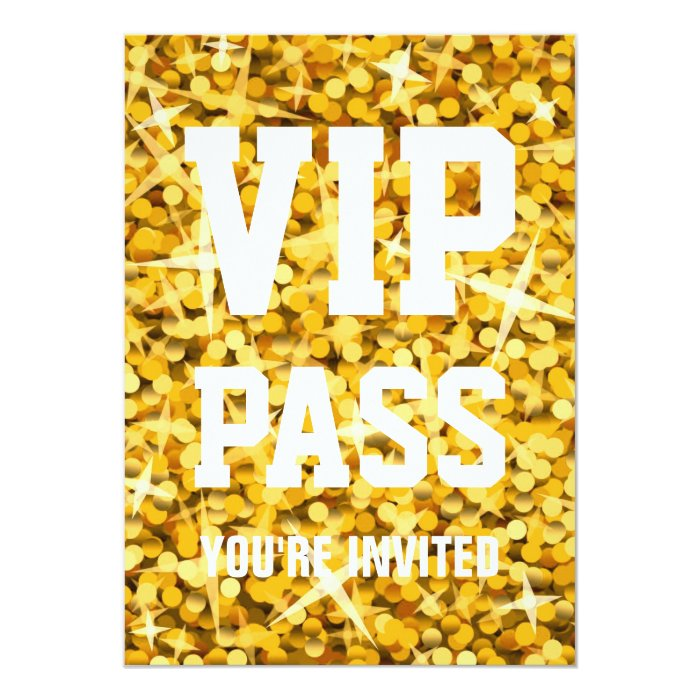 "Glitz ""Gold"" 'VIP PASS' invitation"