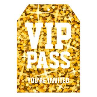 """Glitz """"Gold"""" 'VIP PASS' invitation tag"""