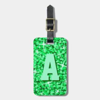 Glitz Green monogram luggage tag 2 sides