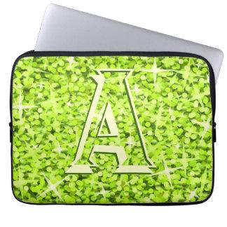 Glitz Lime 'monogram' laptop sleeve 13 inch