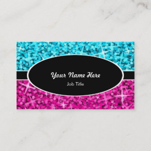 Oval business cards templates zazzle glitz mix blue pink black oval business card colourmoves