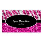 Glitz Mix Pink Zebra Purple black oval Business Card Templates