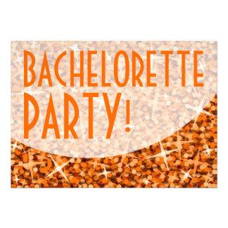 Glitz Orange curve Bachelorette Party Invite