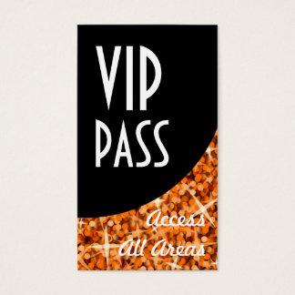 Glitz Orange 'VIP Pass' Black Curve business card