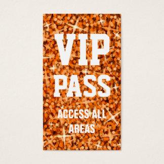 Glitz Orange 'VIP PASS' business card