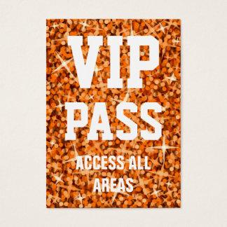 Glitz Orange 'VIP PASS' business card chubby