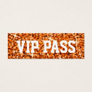 Glitz Orange 'VIP PASS' business card skinny