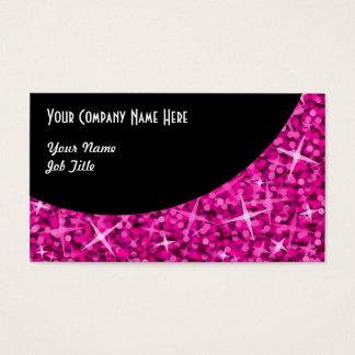 Glitz Pink Black Curve business card template
