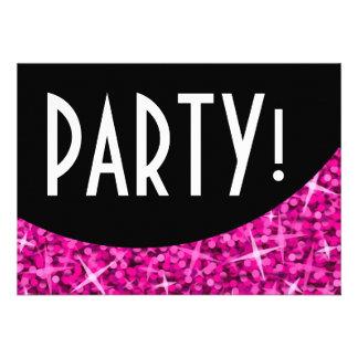 Glitz Pink black curve Party invitation