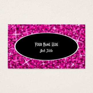 Glitz Pink Black Oval business card template