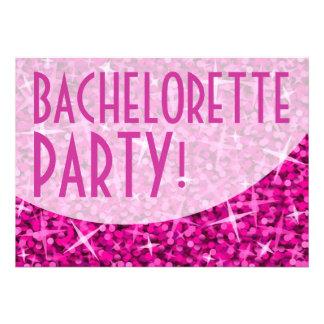 Glitz Pink curve Bachelorette Party invitation
