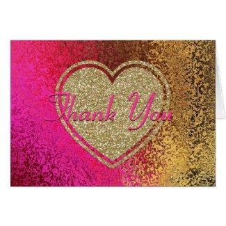 Glitz Pink & Gold Thank You