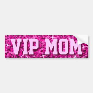 Glitz Pink 'VIP MOM' bumper sticker